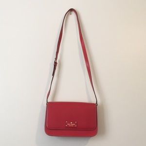 Red Leather Kate Spade Crossbody Purse